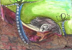 """Germination"" ATC: side view of face and neck gross anatomy clip art, snake tongue clip art, watercolor pencil, ink"