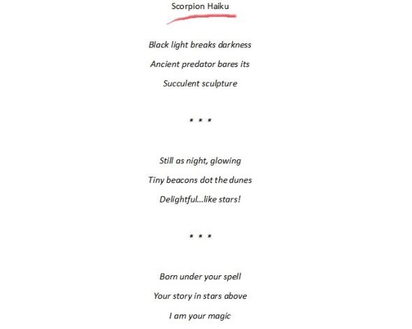 Scorpion Haiku 10-13