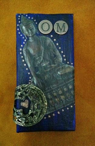 """""""Om Mani"""" mixed media collage mini, 4"""" x 2"""""""