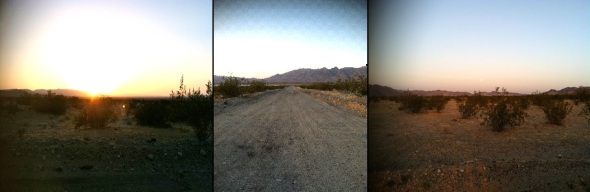 Nearing our destination, sun setting in the west, moon rising in the east. (Photos: M. Hedgecock)