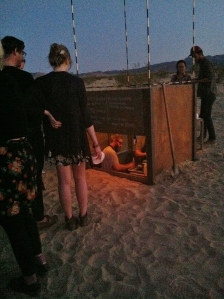 High Desert Test Sites welcomes back SECRET RESTAURANT's for another course, Full Moon Ramen, an art project by Bob Dornberger and Jim Piatt, a 16 sq. ft. partially subterranean restaurant open only a few days per year.  (Photo: M. Hedgecock)