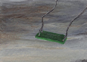 "Green Swing ATC (2 1/2"" x 3 1/2""); acrylic"