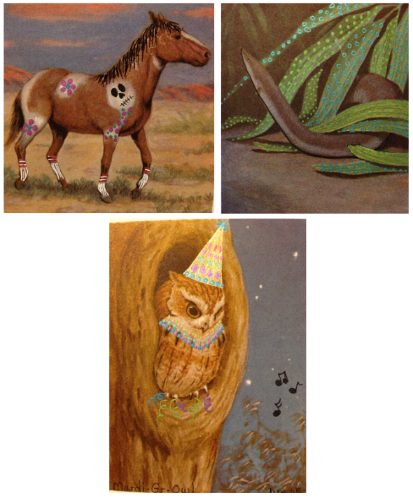 "Top, L --> R: ""Gymkhana"" ""Snake In The Grass"" Bottom: ""Mardi Gr-OWL"" by Laura Huff"