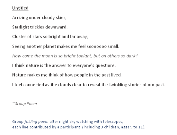 folding poem night sky meetup JAN2015