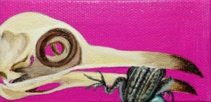 """The Gift."" (Acrylic on mini-canvas, 2"" x 4""  M. Hedgecock.)"