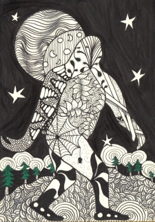 """""""Midnight Squatchy"""" doodle by Michelle Hedgecock"""