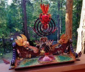"""Sacred Pinecone"" shrine.  Found object assemblage. Click to enlarge."