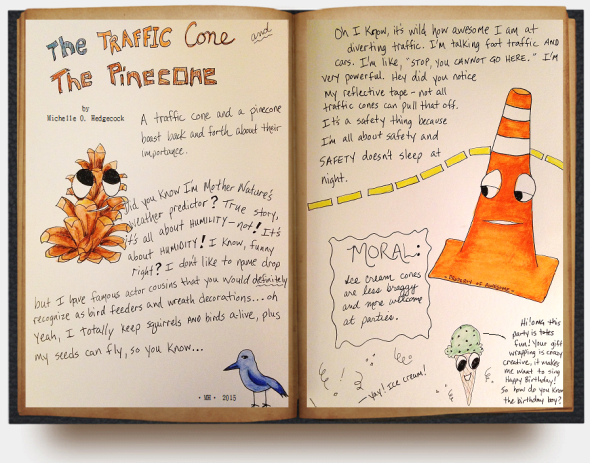 the traffic cone and the pinecone